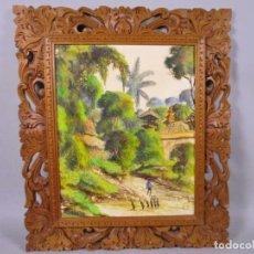 Arte: PRECIOSO PAISAJE DE BALI ARTE, MARCO MADERA TALLADO BELLAS ORNAMENTACIONES, APROX. 46 X 40 CM. Lote 211883072