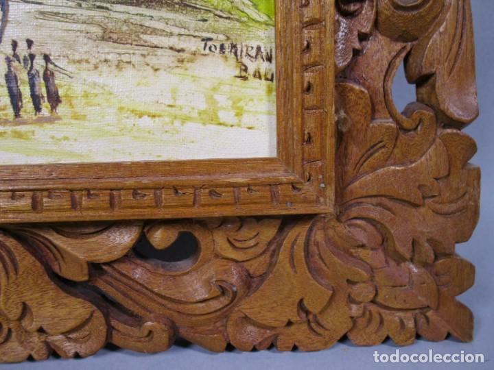 Arte: PRECIOSO PAISAJE DE Bali arte, MARCO MADERA TALLADO BELLAS ORNAMENTACIONES, aprox. 46 x 40 cm - Foto 2 - 211883072