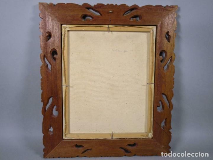 Arte: PRECIOSO PAISAJE DE Bali arte, MARCO MADERA TALLADO BELLAS ORNAMENTACIONES, aprox. 46 x 40 cm - Foto 4 - 211883072