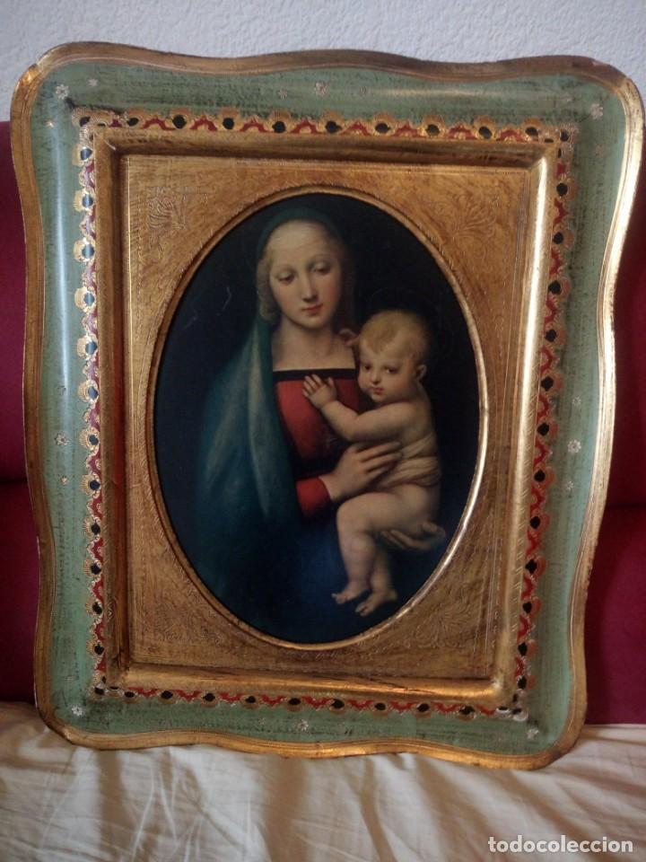 Arte: Precioso cuadro virgen con el niño,pintura sobre madera,pieza rara de ver,,siglo xix - Foto 2 - 211904971