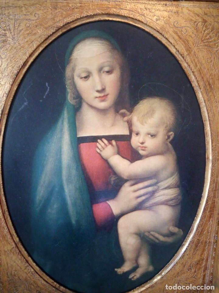 Arte: Precioso cuadro virgen con el niño,pintura sobre madera,pieza rara de ver,,siglo xix - Foto 3 - 211904971