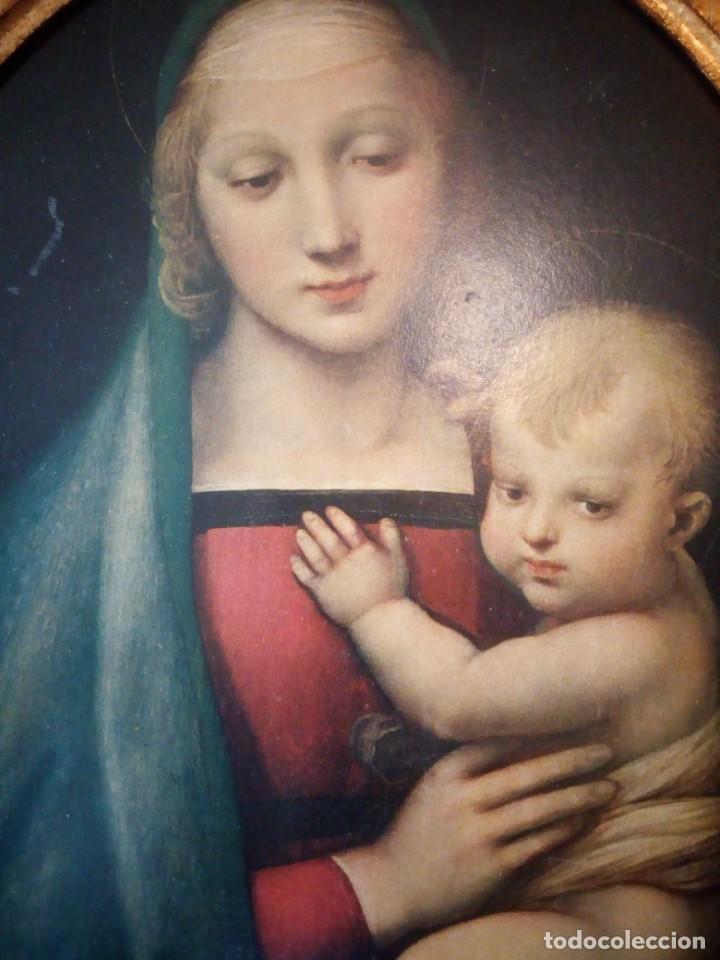 Arte: Precioso cuadro virgen con el niño,pintura sobre madera,pieza rara de ver,,siglo xix - Foto 9 - 211904971