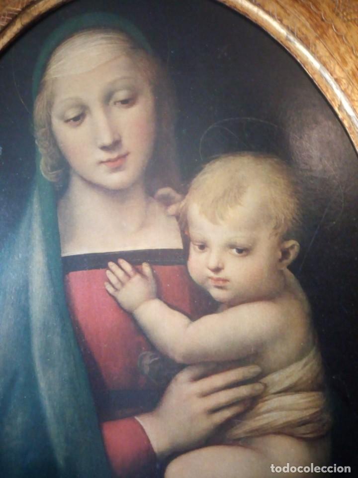 Arte: Precioso cuadro virgen con el niño,pintura sobre madera,pieza rara de ver,,siglo xix - Foto 10 - 211904971