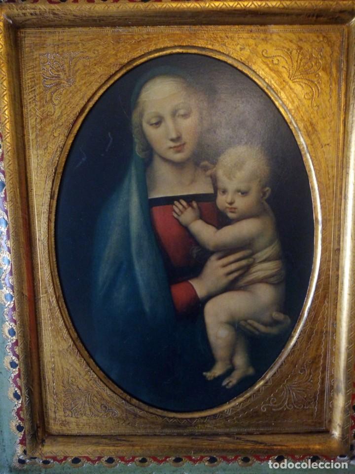 Arte: Precioso cuadro virgen con el niño,pintura sobre madera,pieza rara de ver,,siglo xix - Foto 11 - 211904971