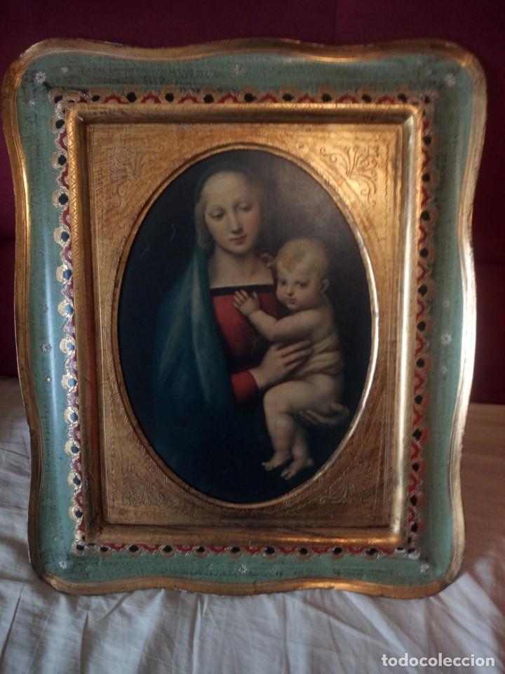 Arte: Precioso cuadro virgen con el niño,pintura sobre madera,pieza rara de ver,,siglo xix - Foto 12 - 211904971