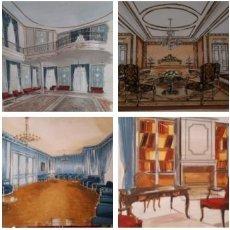 Arte: 4 ACUARELAS INTERIORES. 1970. PARIS.. Lote 211973653