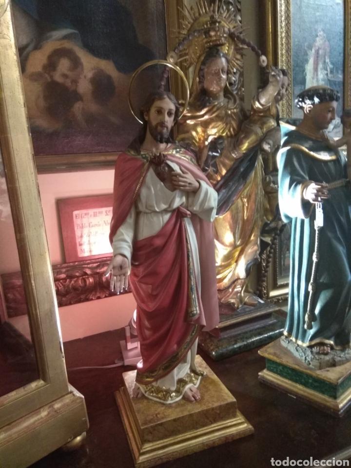 Arte: Escultura Sagrado Corazón de Jesús XIX Madera - Foto 3 - 147229958