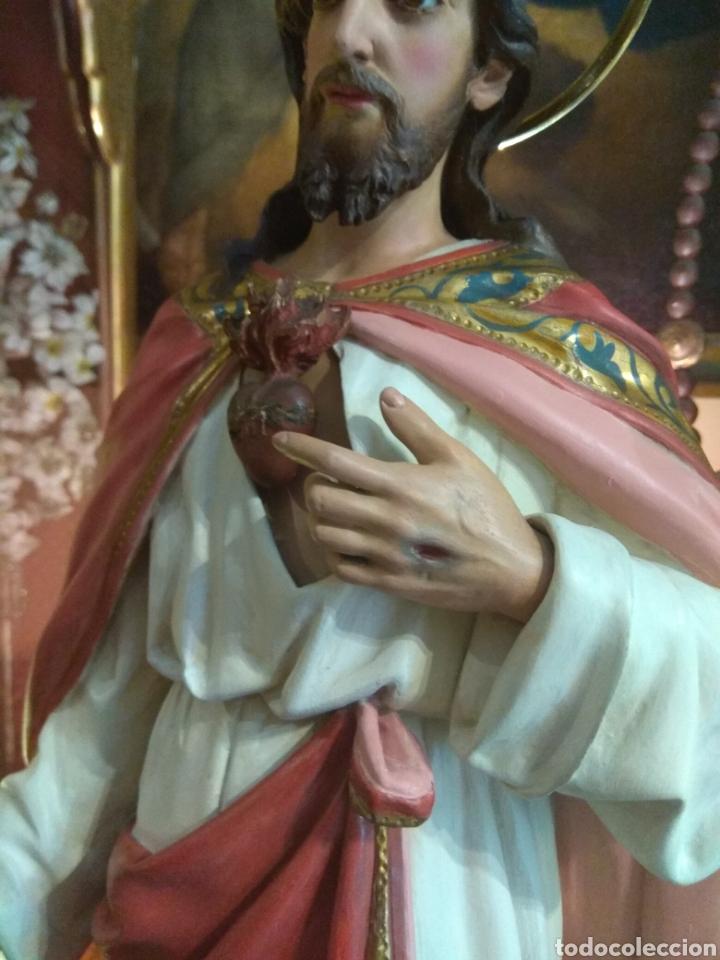 Arte: Escultura Sagrado Corazón de Jesús XIX Madera - Foto 7 - 147229958
