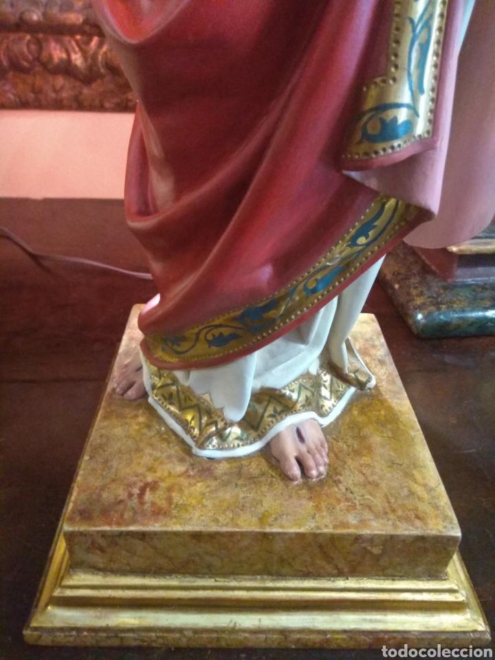 Arte: Escultura Sagrado Corazón de Jesús XIX Madera - Foto 10 - 147229958