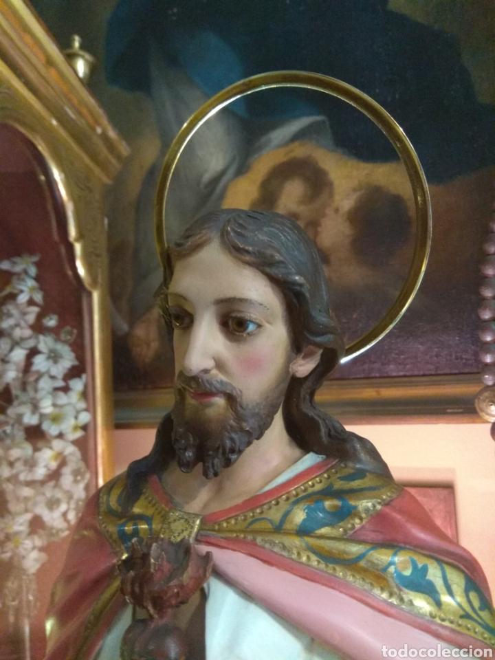 Arte: Escultura Sagrado Corazón de Jesús XIX Madera - Foto 14 - 147229958