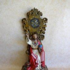 Arte: ANTIGUO SAGRADO CORAZON DE JESUS YESO Y MADERA 58 CM CRISTO. Lote 212080582