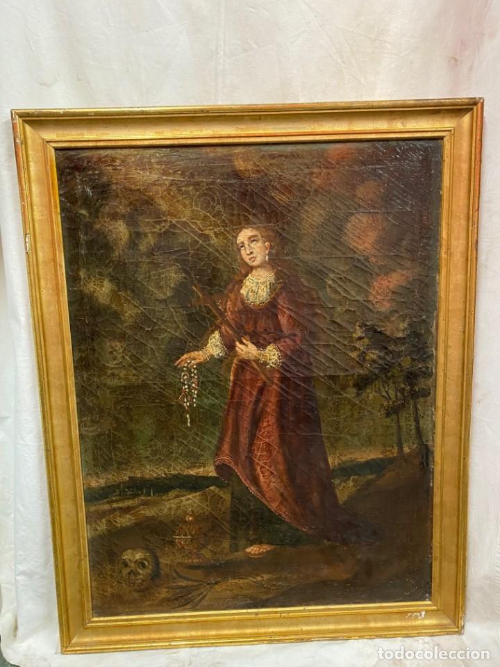 Arte: Antiguo óleo sobre lienzo de María Magdalena , marco dorado al oro fino. PP. siglo XVIII. 84x65 - Foto 3 - 138341270