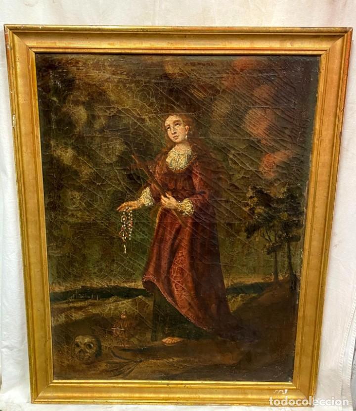 Arte: Antiguo óleo sobre lienzo de María Magdalena , marco dorado al oro fino. PP. siglo XVIII. 84x65 - Foto 2 - 138341270