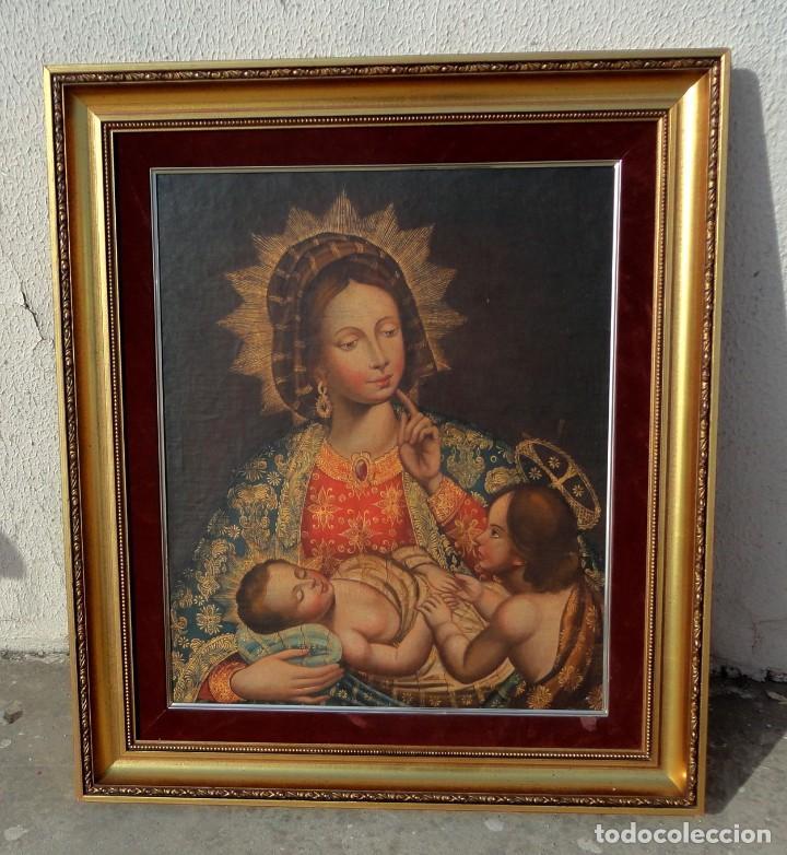 CUADRO AL OLEO DE VIRGEN CON NIÑO JESUS Y SAN JUANILLO,, ESTILO COLONIAL (Arte - Arte Religioso - Pintura Religiosa - Oleo)