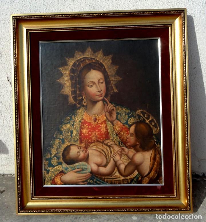 Arte: Cuadro al oleo de virgen con niño Jesus y San Juanillo,, estilo colonial - Foto 2 - 212173642