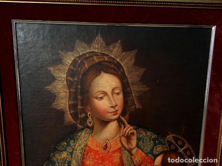 Arte: Cuadro al oleo de virgen con niño Jesus y San Juanillo,, estilo colonial - Foto 4 - 212173642
