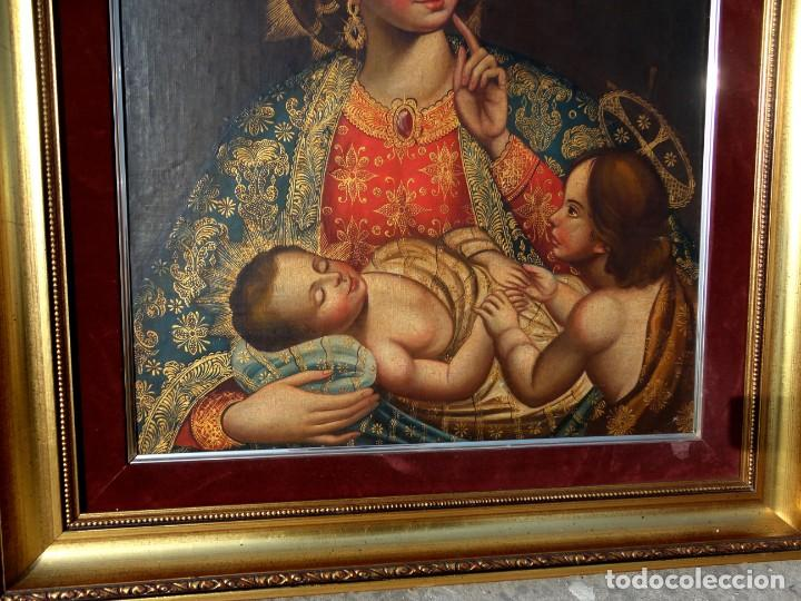 Arte: Cuadro al oleo de virgen con niño Jesus y San Juanillo,, estilo colonial - Foto 5 - 212173642