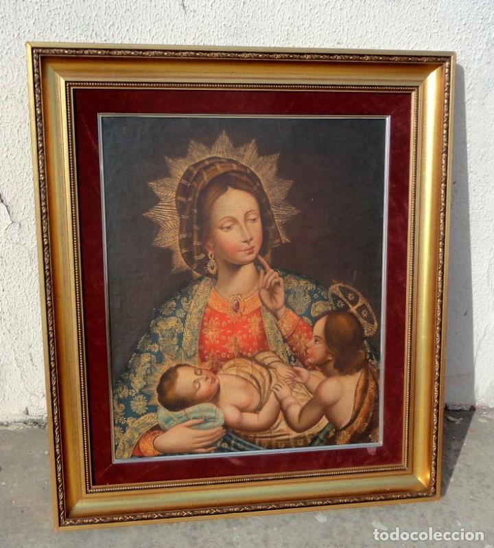 Arte: Cuadro al oleo de virgen con niño Jesus y San Juanillo,, estilo colonial - Foto 7 - 212173642