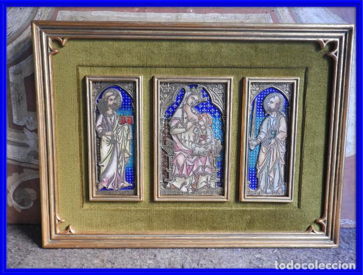 PRECIOSO TRIPTICO DE BRONCE Y ESMALTE AL FUEGO DEL TALLER DE MORATO (Arte - Arte Religioso - Trípticos)