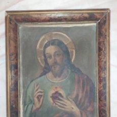 Arte: ÓLEO SOBRE CARTÓN SAGRADO CORAZÓN DE JESÚS FIRMADO JOAQUÍN TUDELA PERALES XATIVA 1891/1970 ÚNICO. Lote 212268515