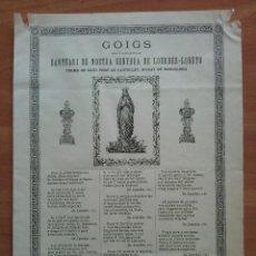 Arte: 1892 GOIGS SANTUARI DE NOSTRA SENYORA DE LOURDES - LORETO. Lote 212326945