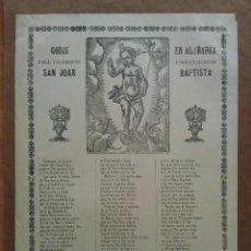 Arte: 1898 GOIGS DEL GLORIOS SAN JOAN BAPTISTA. Lote 212328007