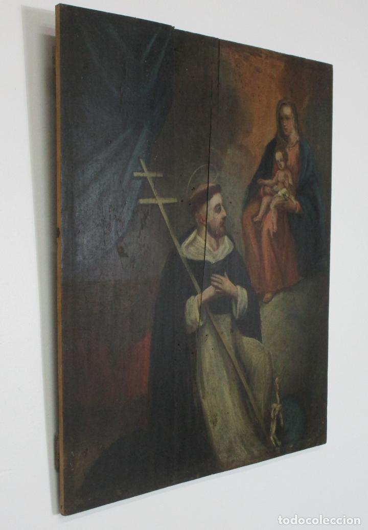 Arte: Antigua Pintura Religiosa - Óleo sobre Tabla - San Domingo de Guzmán - S. XVIII - Foto 2 - 212343181
