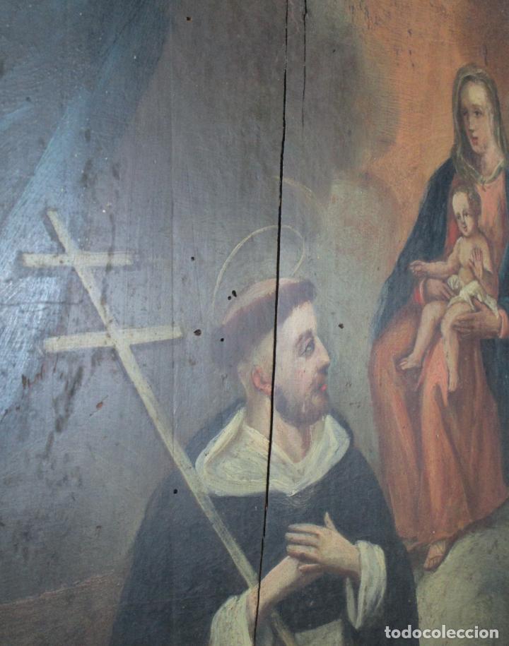 Arte: Antigua Pintura Religiosa - Óleo sobre Tabla - San Domingo de Guzmán - S. XVIII - Foto 4 - 212343181