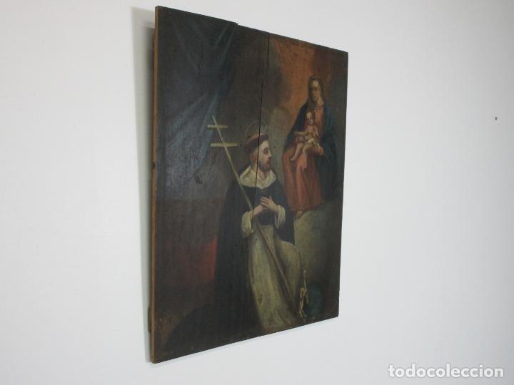 Arte: Antigua Pintura Religiosa - Óleo sobre Tabla - San Domingo de Guzmán - S. XVIII - Foto 7 - 212343181