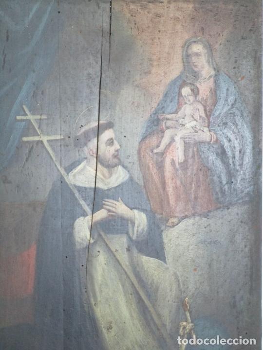 Arte: Antigua Pintura Religiosa - Óleo sobre Tabla - San Domingo de Guzmán - S. XVIII - Foto 8 - 212343181