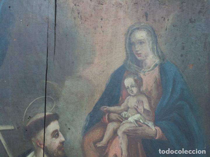 Arte: Antigua Pintura Religiosa - Óleo sobre Tabla - San Domingo de Guzmán - S. XVIII - Foto 10 - 212343181