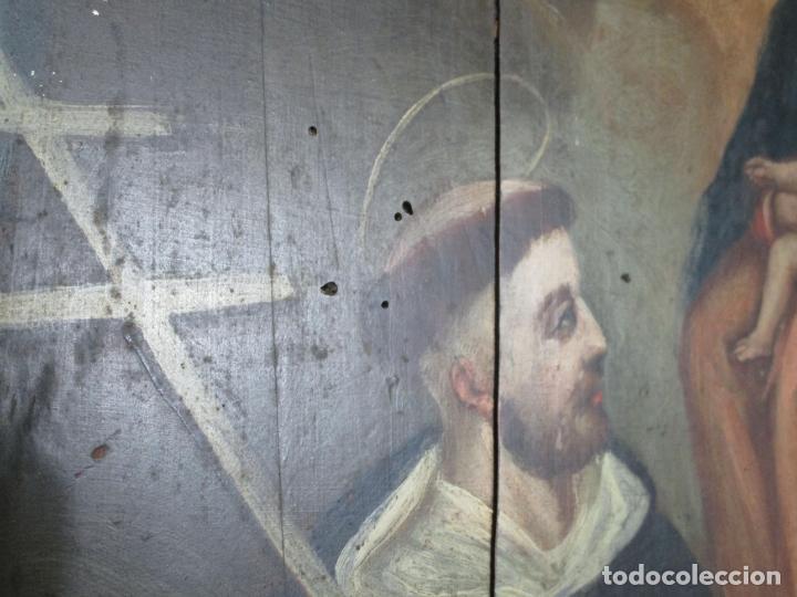 Arte: Antigua Pintura Religiosa - Óleo sobre Tabla - San Domingo de Guzmán - S. XVIII - Foto 11 - 212343181