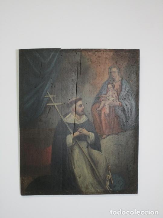 Arte: Antigua Pintura Religiosa - Óleo sobre Tabla - San Domingo de Guzmán - S. XVIII - Foto 12 - 212343181