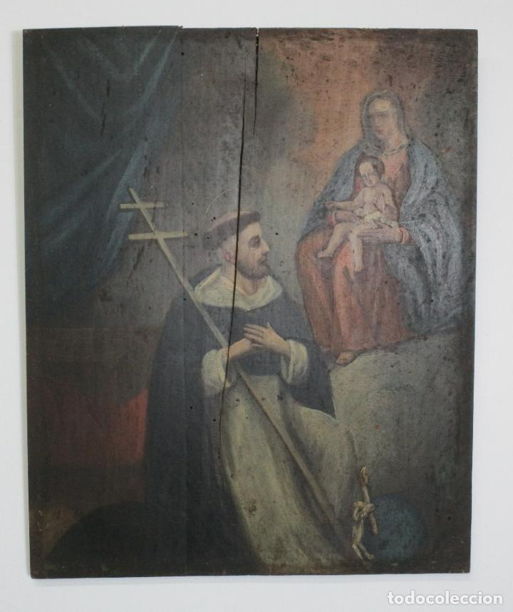 ANTIGUA PINTURA RELIGIOSA - ÓLEO SOBRE TABLA - SAN DOMINGO DE GUZMÁN - S. XVIII (Arte - Arte Religioso - Pintura Religiosa - Oleo)