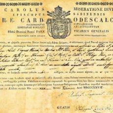 Arte: AUTÉNTICA. DOCUMENTO DE CERTIFICACIÓN DE VARIAS RELIQUIAS. CARD. ODESCALCHI. ROMA. 1836. Lote 212374513
