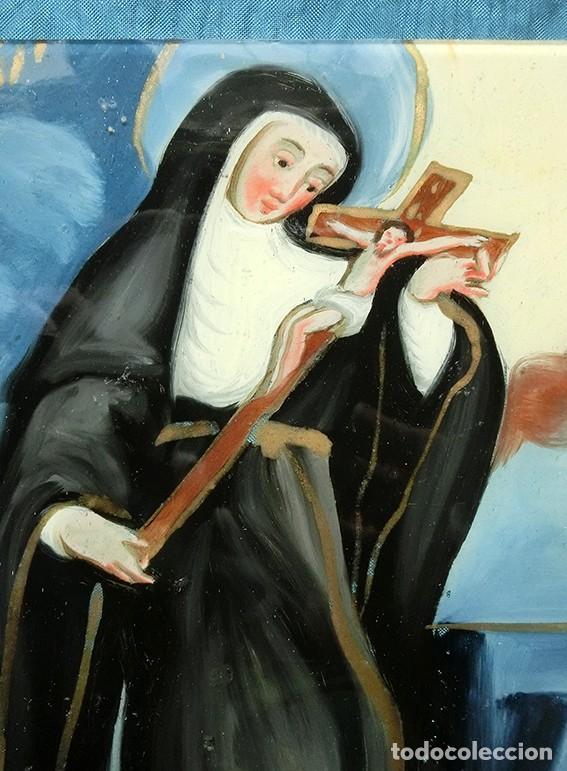 ANTIGUA PINTURA RELIGIOSA - CRISTAL PINTADO A MANO - MONJA CON CRUCIFIJO - TÉCNICA INVERTIDA (Arte - Arte Religioso - Pintura Religiosa - Otros)