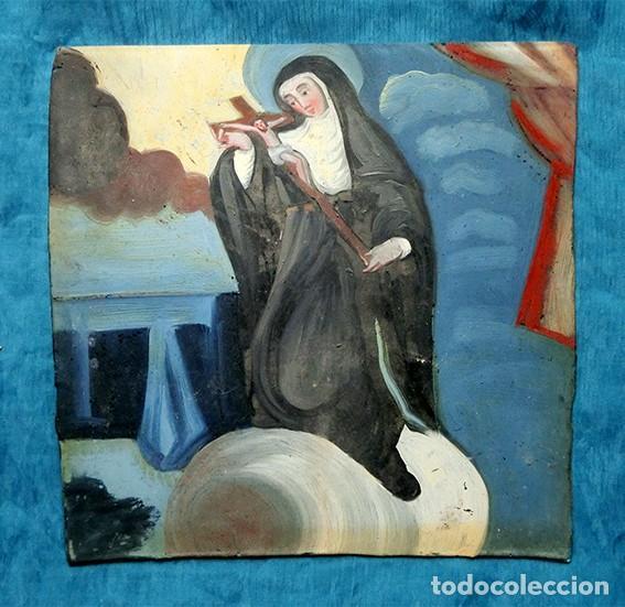 Arte: ANTIGUA PINTURA RELIGIOSA - CRISTAL PINTADO A MANO - MONJA CON CRUCIFIJO - TÉCNICA INVERTIDA - Foto 2 - 212409601