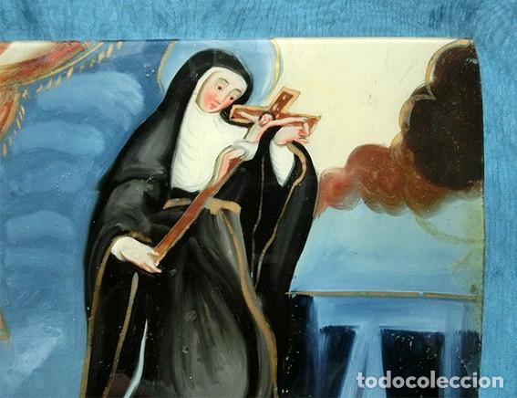 Arte: ANTIGUA PINTURA RELIGIOSA - CRISTAL PINTADO A MANO - MONJA CON CRUCIFIJO - TÉCNICA INVERTIDA - Foto 14 - 212409601