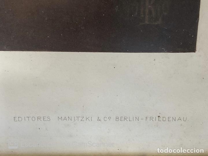 Arte: LAMINA DE LA VIRGEN ENMARCADA. EDITORES MANITZKI & Cº BERLIN. FIEDENAU. - Foto 5 - 212492542