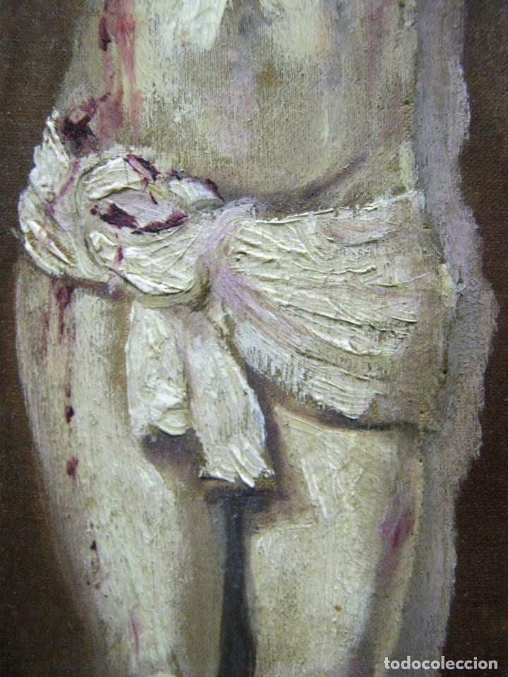 Arte: Antigua Cruz madera con Cristo pintado . Gran benditera con pintura al oleo 48 cm - Foto 10 - 212527750
