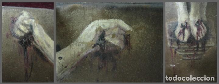 Arte: Antigua Cruz madera con Cristo pintado . Gran benditera con pintura al oleo 48 cm - Foto 12 - 212527750
