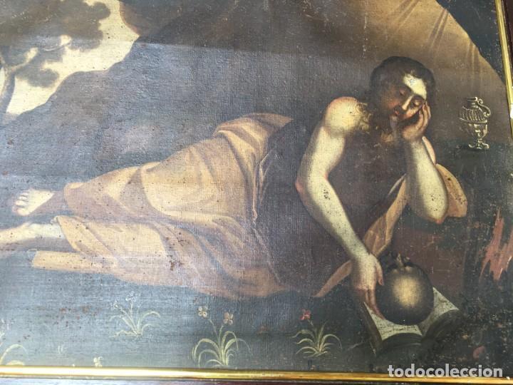 Arte: (M.R/C) ANTIGUA PINTURA , LIENZO AL OLEO S. XVIII - SANTA MARIA MAGDALENA CON SU MARCO DE EPOCA - Foto 2 - 212617561