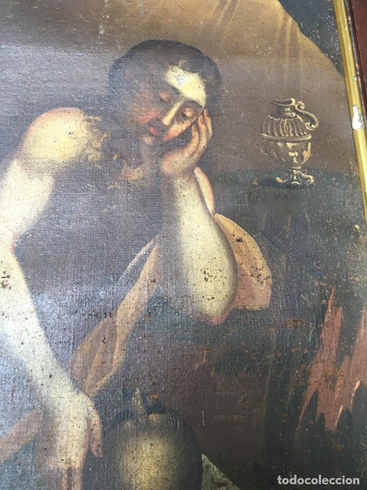 Arte: (M.R/C) ANTIGUA PINTURA , LIENZO AL OLEO S. XVIII - SANTA MARIA MAGDALENA CON SU MARCO DE EPOCA - Foto 3 - 212617561