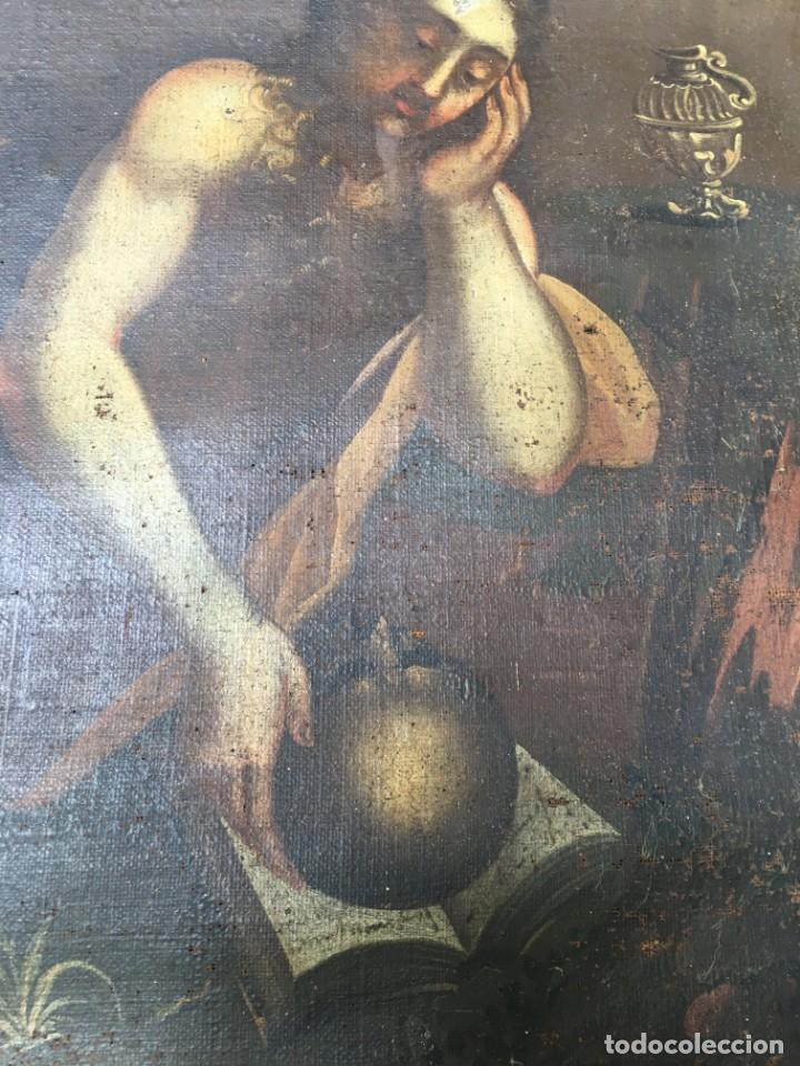 Arte: (M.R/C) ANTIGUA PINTURA , LIENZO AL OLEO S. XVIII - SANTA MARIA MAGDALENA CON SU MARCO DE EPOCA - Foto 4 - 212617561