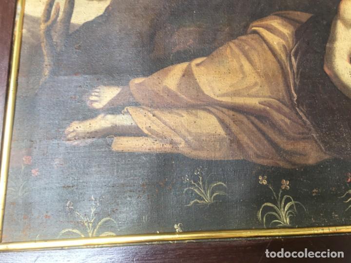 Arte: (M.R/C) ANTIGUA PINTURA , LIENZO AL OLEO S. XVIII - SANTA MARIA MAGDALENA CON SU MARCO DE EPOCA - Foto 6 - 212617561