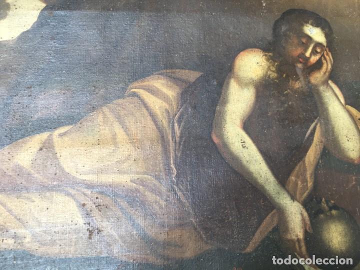 Arte: (M.R/C) ANTIGUA PINTURA , LIENZO AL OLEO S. XVIII - SANTA MARIA MAGDALENA CON SU MARCO DE EPOCA - Foto 8 - 212617561