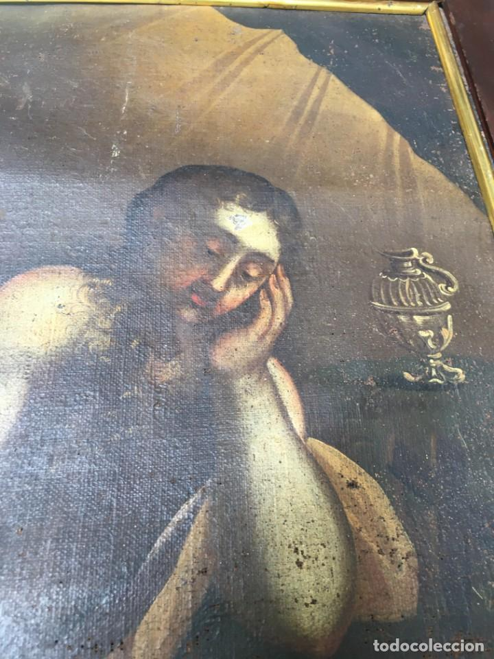 Arte: (M.R/C) ANTIGUA PINTURA , LIENZO AL OLEO S. XVIII - SANTA MARIA MAGDALENA CON SU MARCO DE EPOCA - Foto 9 - 212617561