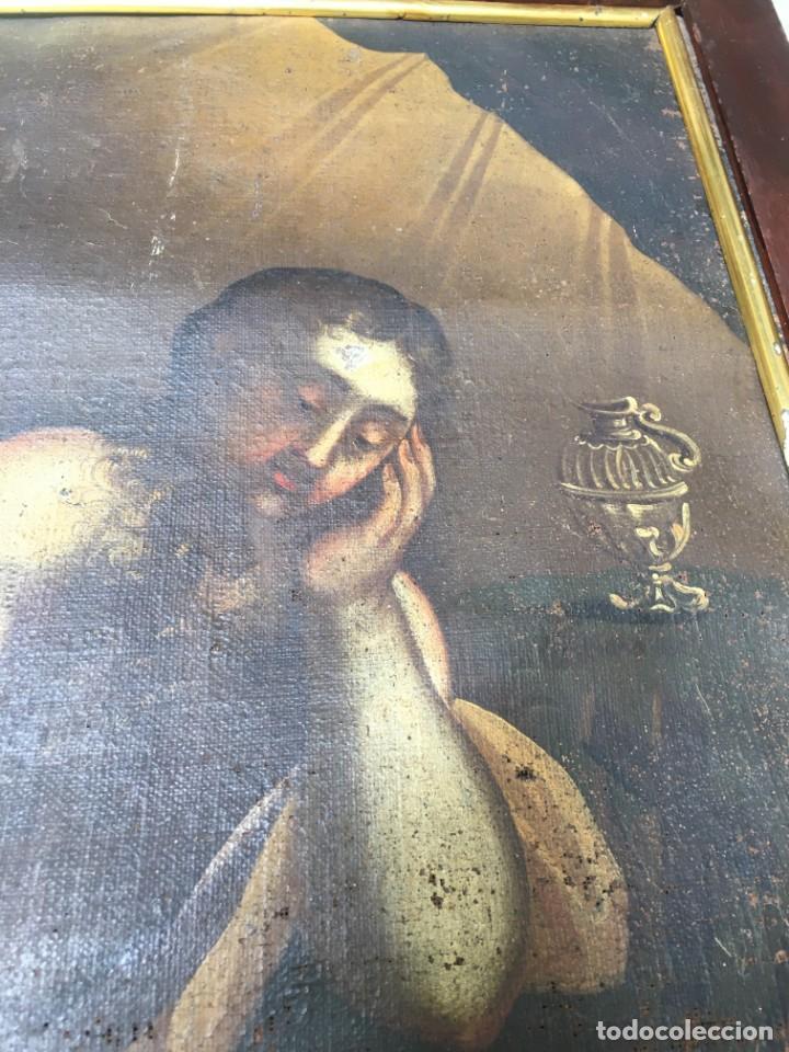 Arte: (M.R/C) ANTIGUA PINTURA , LIENZO AL OLEO S. XVIII - SANTA MARIA MAGDALENA CON SU MARCO DE EPOCA - Foto 10 - 212617561