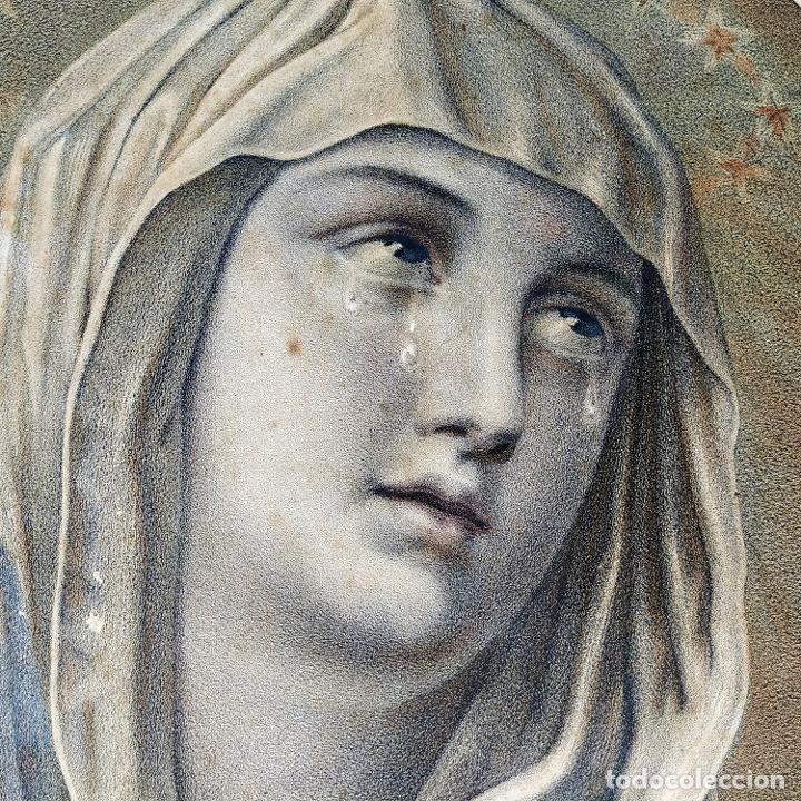 DOLOROSA. LITOGRAFÍA. COLOREADA A LA ACUARELA. ESPAÑA. SIGLO XIX (Arte - Arte Religioso - Litografías)