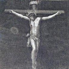 Arte: CRISTO CRUCIFICADO. GRABADO SOBRE PAPEL. JUAN PALOMINO. ESPAÑA. SIGLO XVIII. Lote 212772725